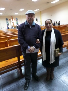 Patato and his wife, in the Roma Pentecostal church in Torrente. [Photo by VICENTE]