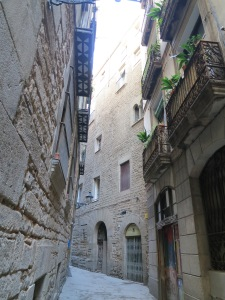A narrow slice of the historic Jewish district in Barcelona. [Photo by REBEKAH]