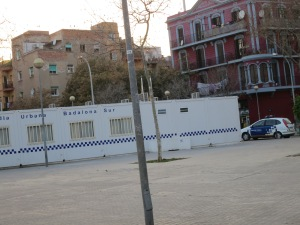 A police outpost in the park, in Sant Roc. [Photo by REBEKAH]